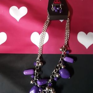 Purple Stone Paparazzi  necklace an earrings set
